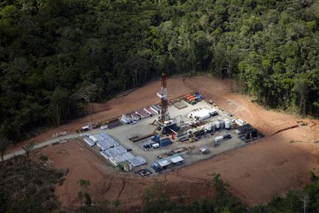 File picture shows an exploration rig in an aerial overview taken at the Cuyabeno reserve in Lago Agrio in the Sucumbios Province