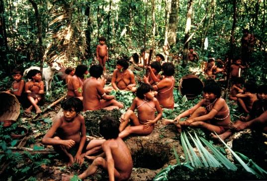 YANOMAMI POUND LEAVES FOR TIMBî, DEMINI, BRAZIL