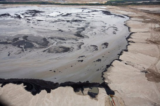 A Shell tailings pond at their tar sands operations near Fort McMurray.